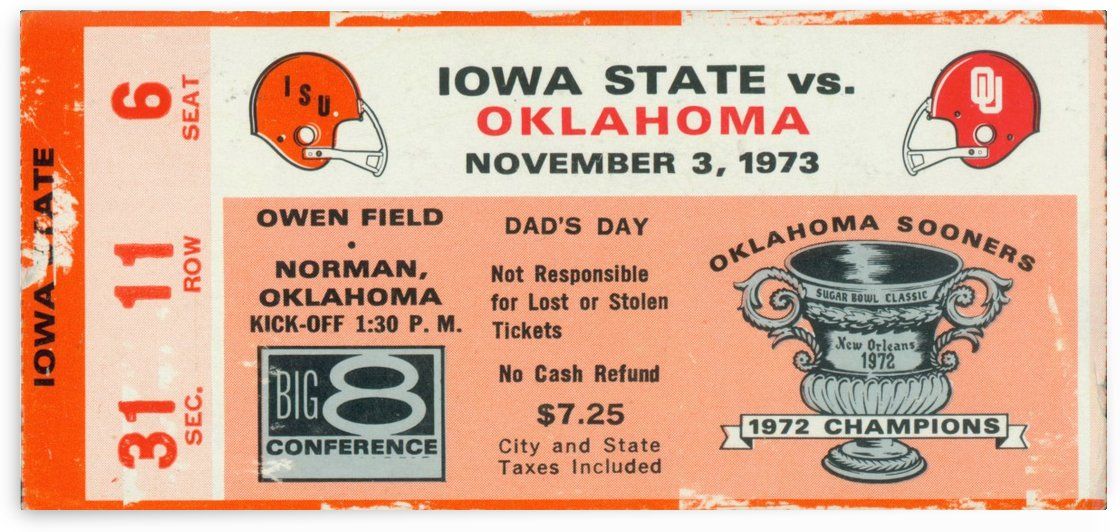 1973_College_Football_Oklahoma vs. Iowa State_Owen Field_Norman_Row One by Row One Brand