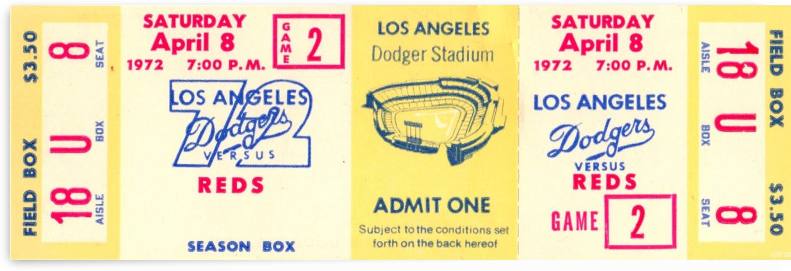 1972_Major League Baseball_Reds vs. Los Angeles Dodgers_Dodger Stadium_Los Angeles_Row One by Row One Brand