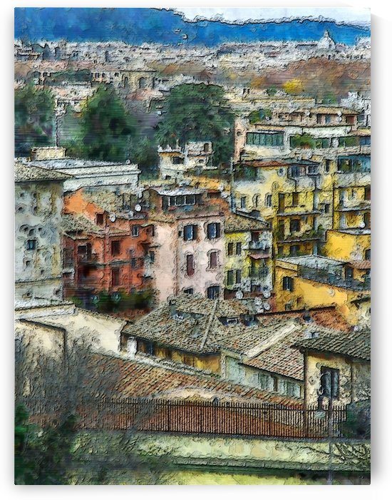 colored houses scenic view urban by Shamudy