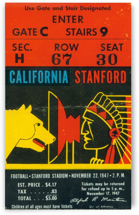 1947_College_Football_California vs. Stanford_Stanford Stadium_Row One by Row One Brand