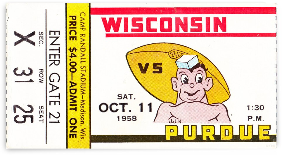 1958_College_Football_Wisconsin vs. Purdue_Row One by Row One Brand