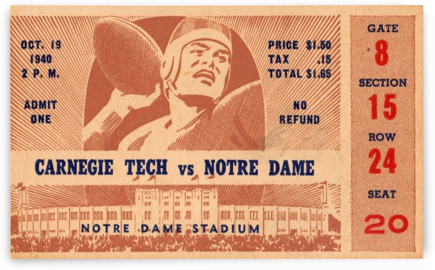 1940 Carnegie Tech vs. Notre Dame by Row One Brand