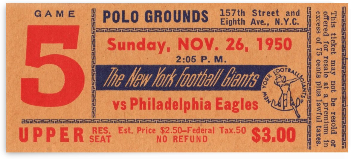 1950_National Football League_Philadelphia Eagles vs. New York Giants_Polo Grounds_NYC_Row One Brand by Row One Brand