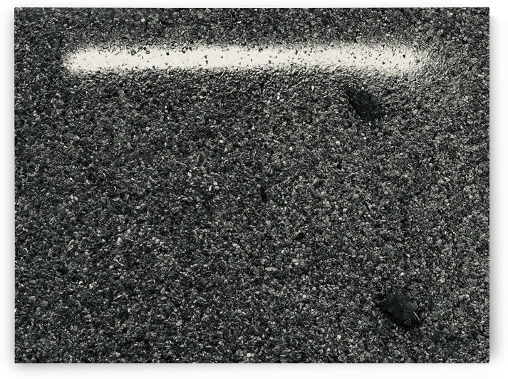 Black Asphalt White Horizontal Line and Two Wood Buttons IV by Swiss Art by Patrick Kobler