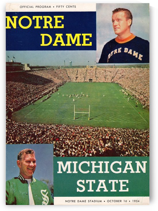 1954_College_Football_Michigan State vs. Notre Dame_Notre Dame Stadium_South Bend_Program_Row One by Row One Brand