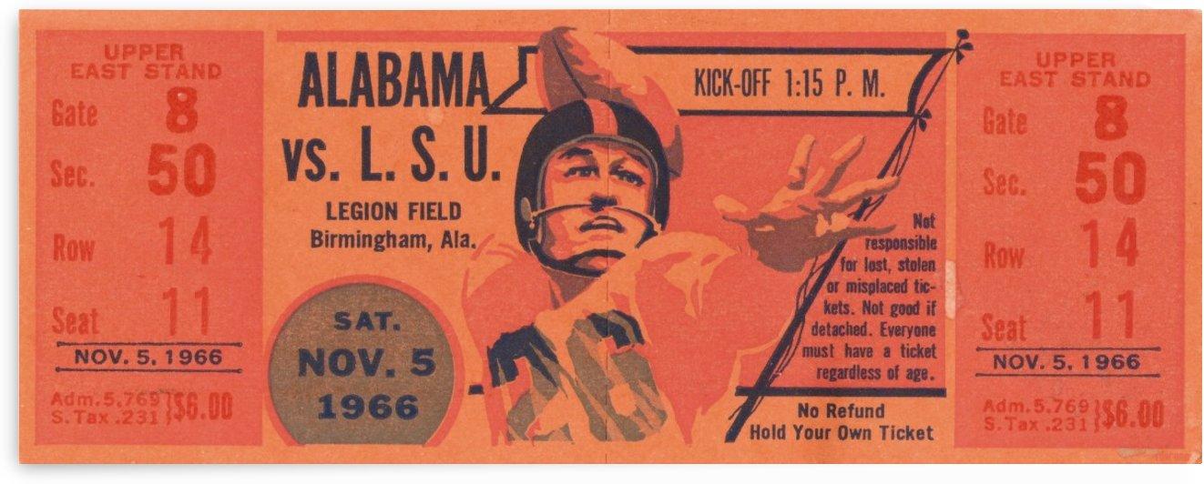 1966 University of Alabama vs. LSU Football Ticket Stub by Row One Brand