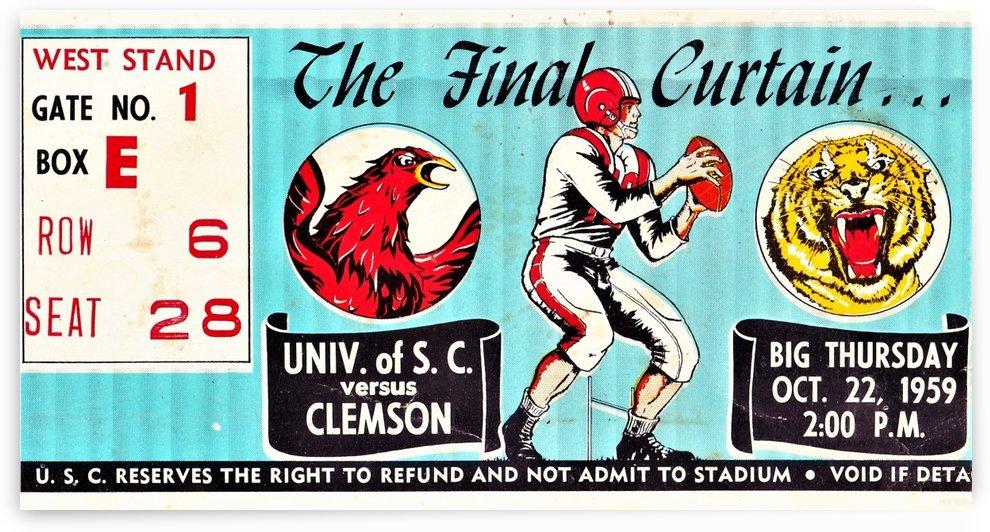 1959 South Carolina Gamecocks vs. Clemson Tigers Ticket Art Row One Brand College by Row One Brand