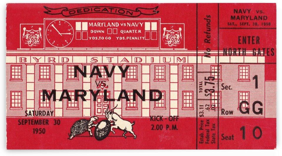 1950_College_Football_Navy vs. Maryland_Byrd Stadium_Stadium Dedication Game_Row One Brand Ticket by Row One Brand