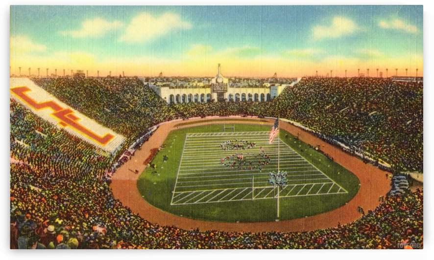 1940s Los Angeles Coliseum USC Trojans Football Art by Row One Brand