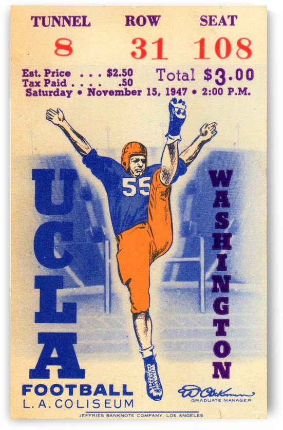 1947_College_Football_UCLA vs. Washington_Los Angeles Coliseum_Row One Brand Ticket Art by Row One Brand