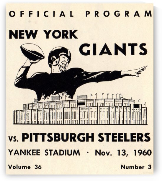 1960_National Football League_New York Giants vs. Pittsburgh Steelers_Yankee Stadium_Row One Vintage by Row One Brand
