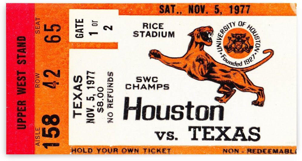 1977_College_Football_Texas vs. Houston_Astrodome_Row One Brand Ticket Stub by Row One Brand