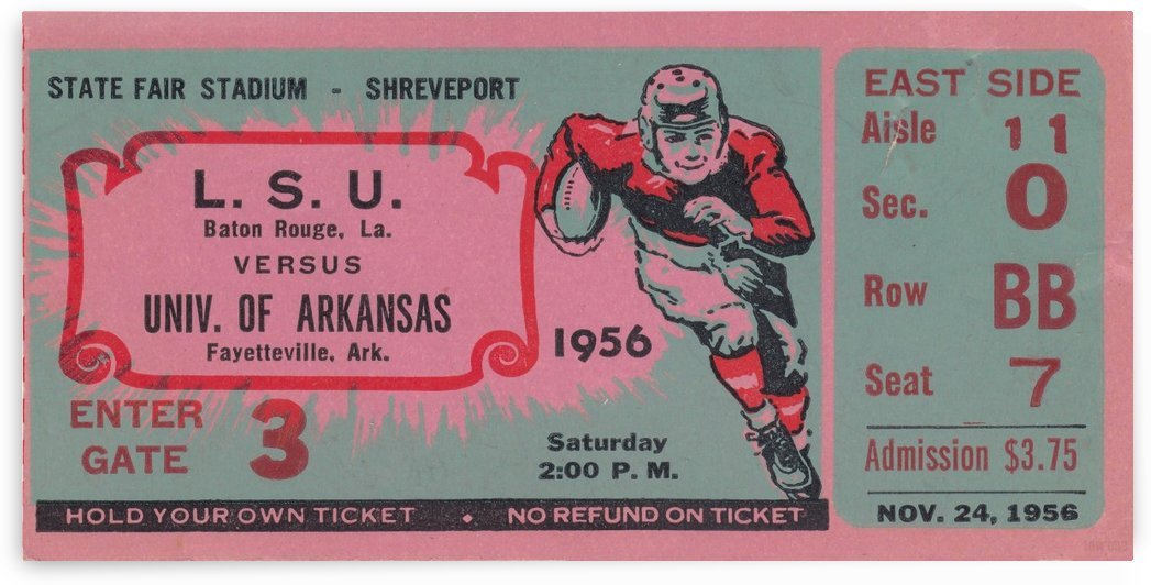 1956_College_Football_Arkansas vs. LSU_State Fair Stadium_Row One Brand Ticket Stub by Row One Brand