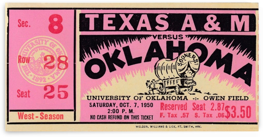 1950_College_Football_Oklahoma vs. Texas A&M_Owen Field_Row One Brand Ticket Stub by Row One Brand