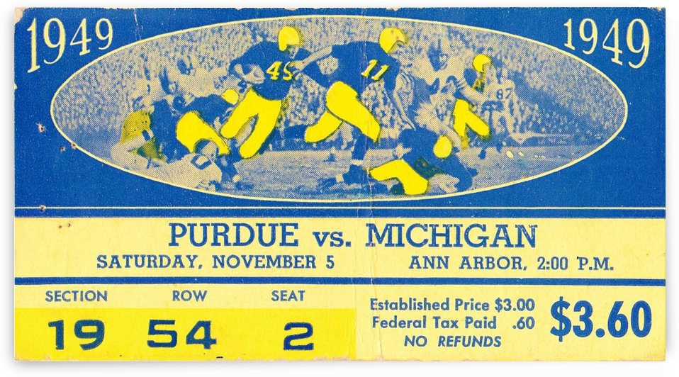 1949_College_Football_Purdue vs. Michigan_Michigan Stadium_Row One Brand ticket stub collection by Row One Brand