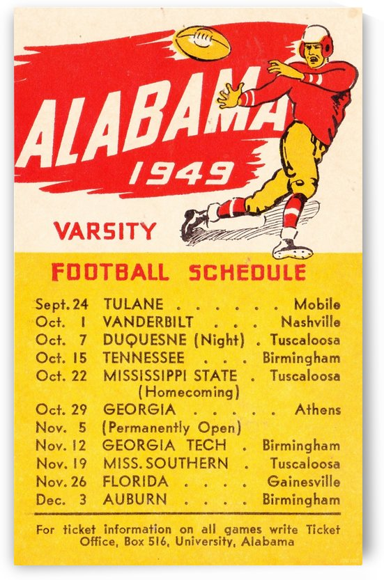 1949_College_Football_Alabama_Schedule_Row One Brand Vintage College Schedule by Row One Brand