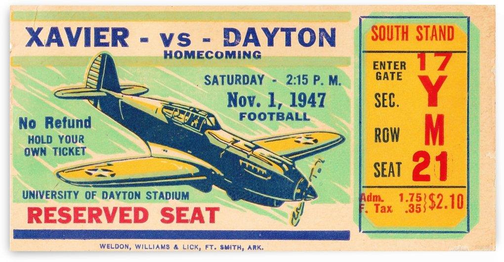 1947_College_Football_Xavier vs. Dayton_University of Dayton Stadium_Row One Brand Ticket Stub by Row One Brand