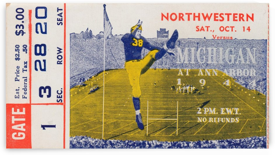 1944 Northwestern vs. Michigan by Row One Brand