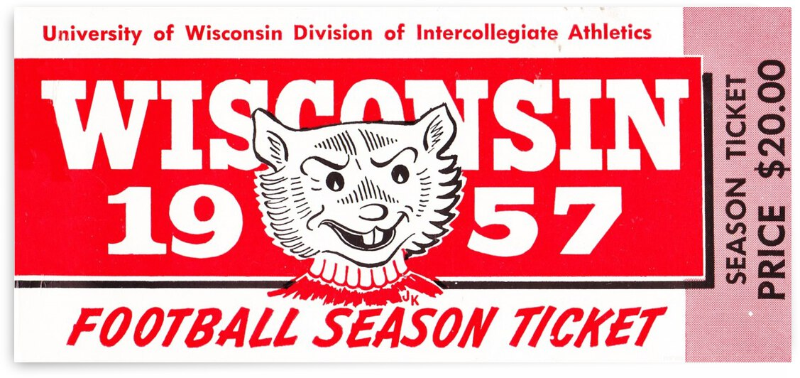 1957 Wisconsin Badgers Season Ticket by Row One Brand