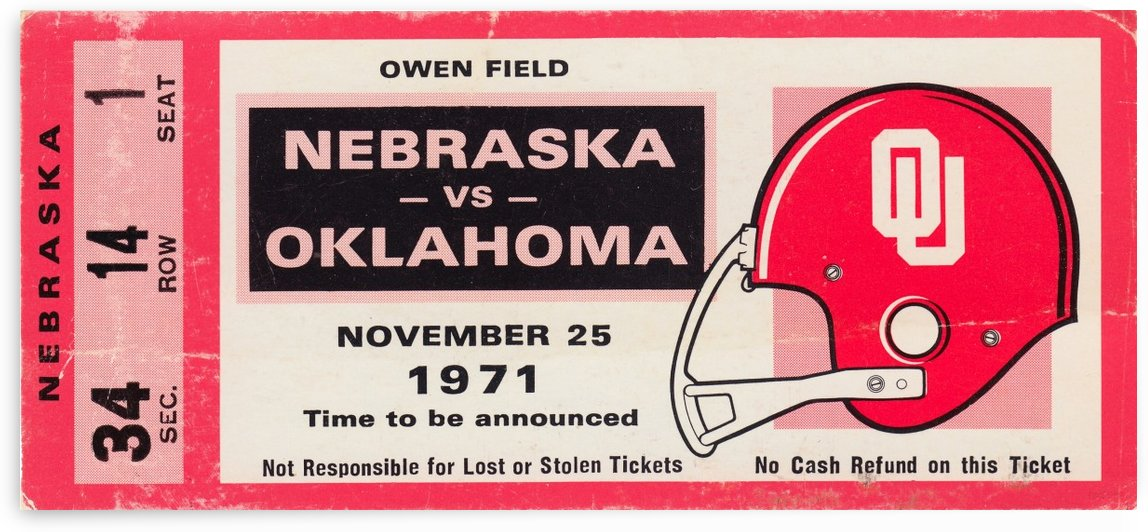 1971 Game of the Century Nebraska vs. Oklahoma by Row One Brand