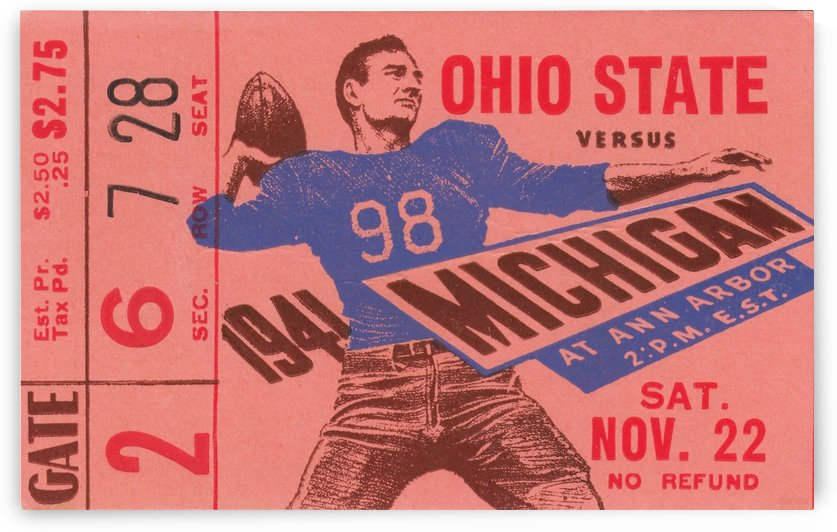 1941_College_Football_Ohio State vs. Michigan_Michigan Stadium_Row One Brand Ticket Stub Art (1) by Row One Brand