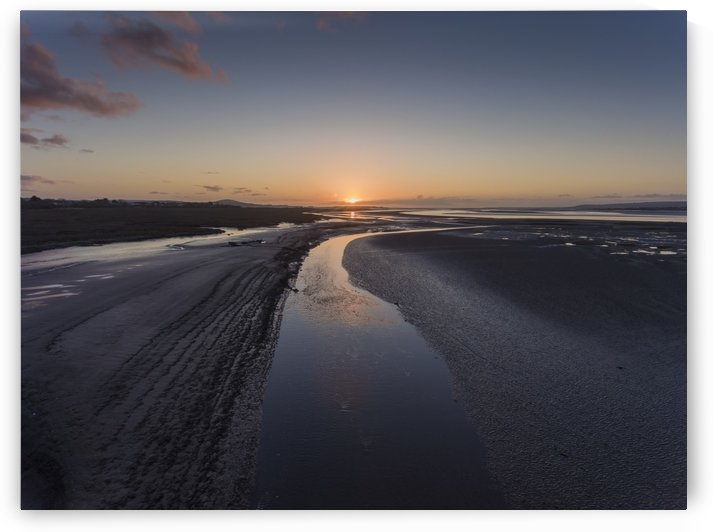A river in the mud at the Loughor estuary by Leighton Collins