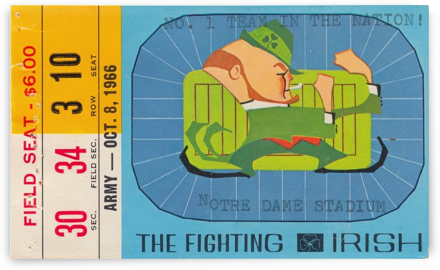 1966_College_Football_Notre Dame vs. North Carolina_Notre Dame Stadium_Row One Brand Ticket Print by Row One Brand