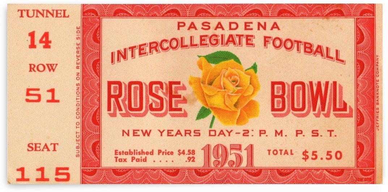 1951_College_Football_Rose Bowl_Michigan vs. California_Michigan won 14 6 Row One Brand Ticket Stub by Row One Brand