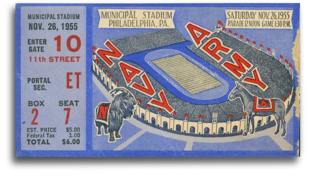 1955_College_Football_Army vs. Navy_Municipal Stadium_Philadelphia_Ticket by Row One Brand