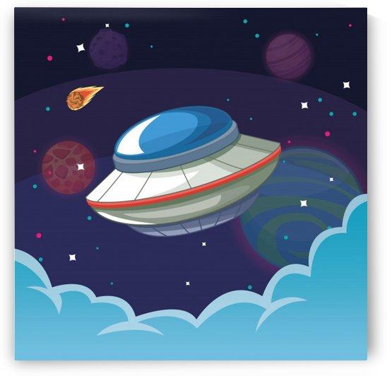ufo alien spaceship galaxy by Shamudy