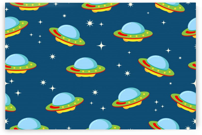 seamless pattern ufo with star space galaxy background by Shamudy