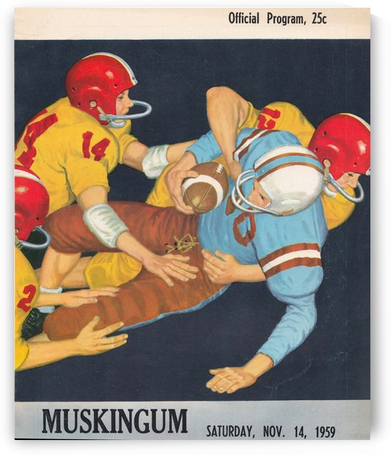 1959 Muskingum University Muskies Football Program Cover Art by Row One Brand