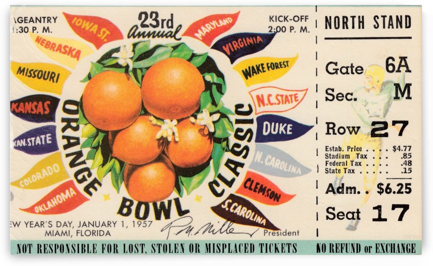 1957_College_Football_Orange Bowl_Clemson vs. Colorado_Orange Bowl Ticket Stub Collection by Row One Brand