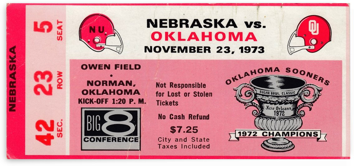 1973_College_Football_Oklahoma vs. Nebraska_Owen Field_University of Oklahoma Football Tickets by Row One Brand