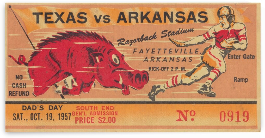 1957_College_Football_Arkansas vs. Texas_Razorback Stadium_College Football Ticket Stub Collection by Row One Brand