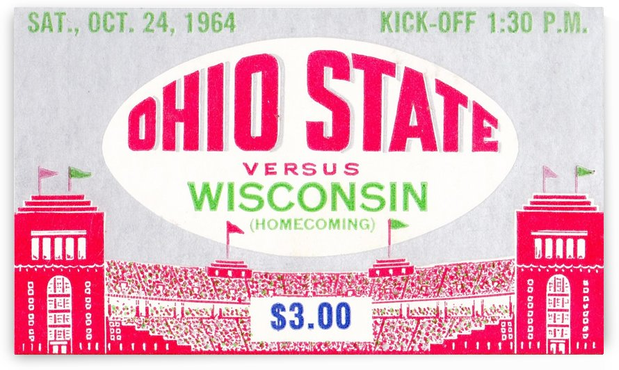 1964_College_Football_Wisconsin vs. Ohio State_Ohio Stadium_OSU Buckeyes Ticket Collection by Row One Brand