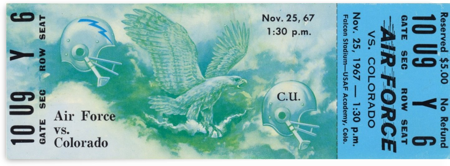 1967_College_Football_Air Force vs. Colorado_Falcon Stadium_Unique Sports Collectible Art Ticket by Row One Brand