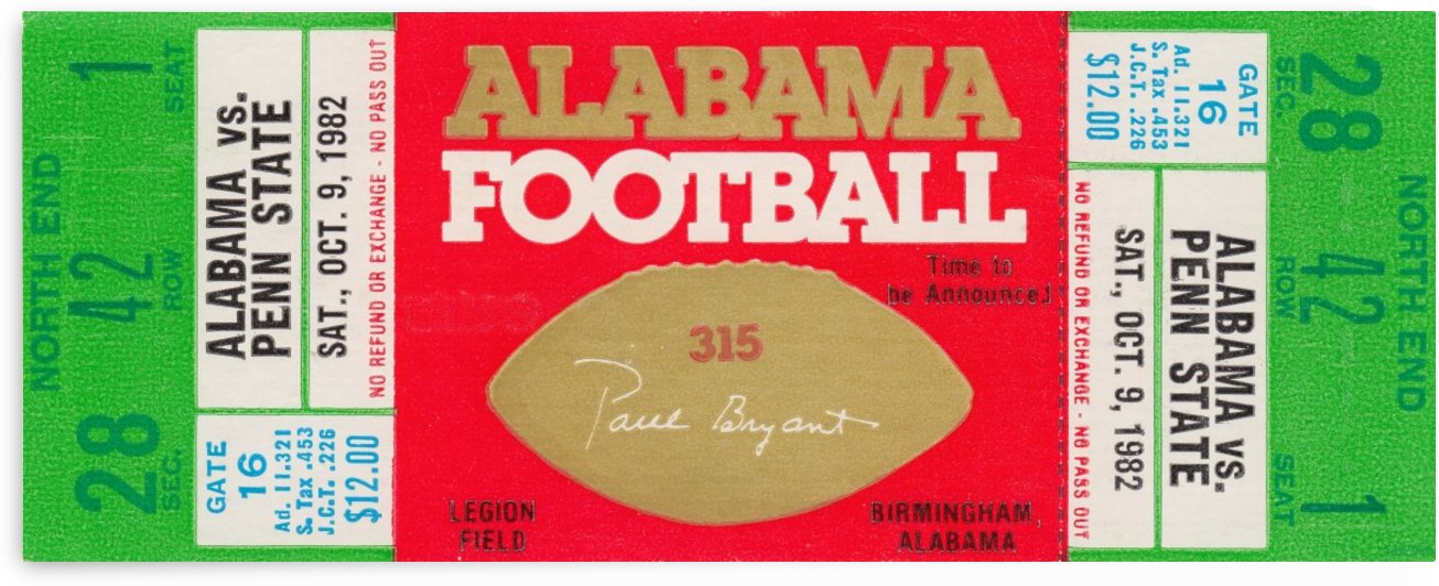 1982_College_Football_Alabama vs. Penn State_Legion Field_Alabama Crimson Tide Ticket Collection by Row One Brand
