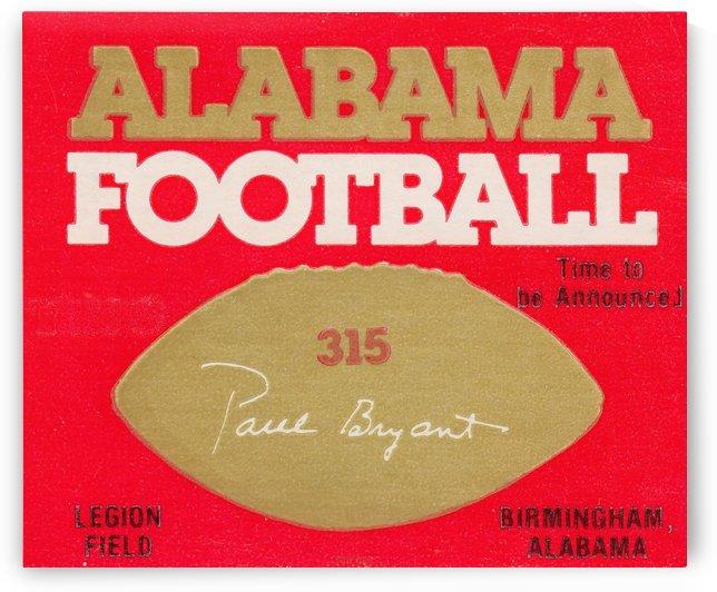 Alabama Football Ticket Stub Art 315 Paul Bryant Legion Field Birmingham Alabama by Row One Brand