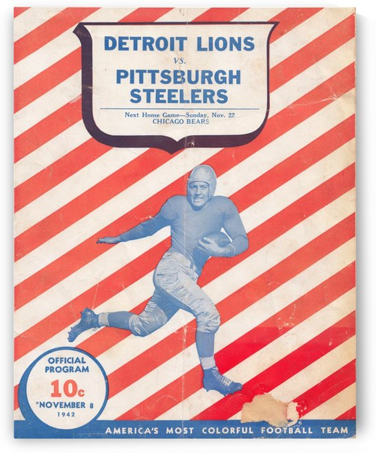 1942_National Football League_Detroit Lions vs. Pittsburgh Steelers_Football Wall Art by Row One Brand