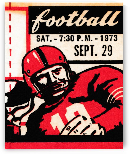 Vintage Football Art_Quarterback Artwork_Vintage Ticket Toss by Row One Brand