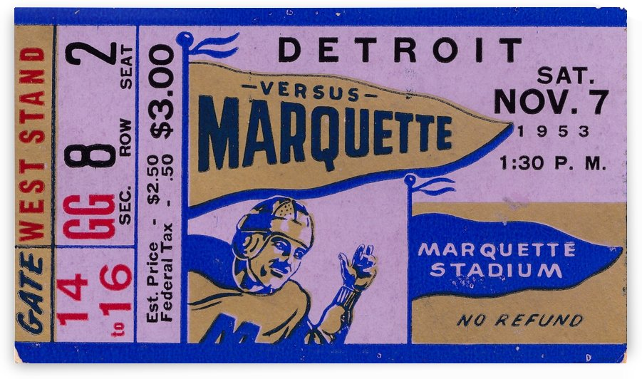 1953_College_Football_Marquette vs. Detroit_Marquette Stadium_Milwaukee Wisconsin_Ticket Stub Prints by Row One Brand