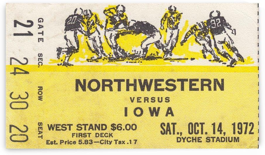 1972_College_Football_Nothwestern vs. Iowa_Dyche Stadium_College Football Tickets into Art by Row One Brand