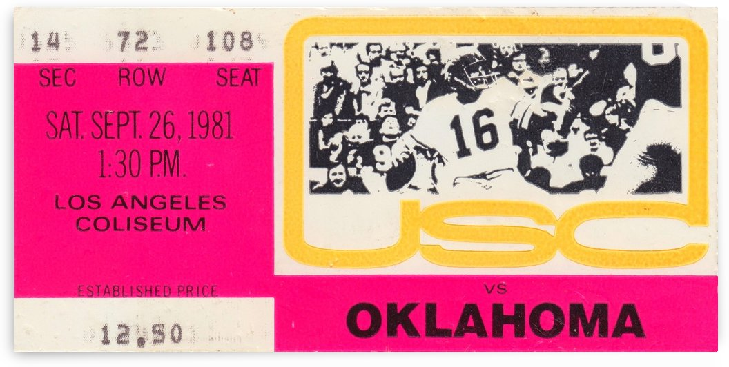1981_College Football Art_USC vs. Oklahoma_Los Angeles Coliseum_College Football Rivalry Ticket by Row One Brand
