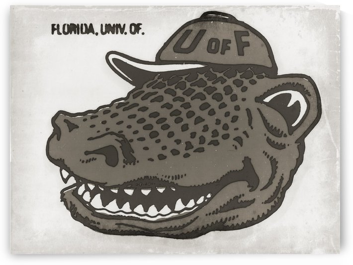 Vintage Florida Gator Art Reproduction Print Black and White by Row One Brand