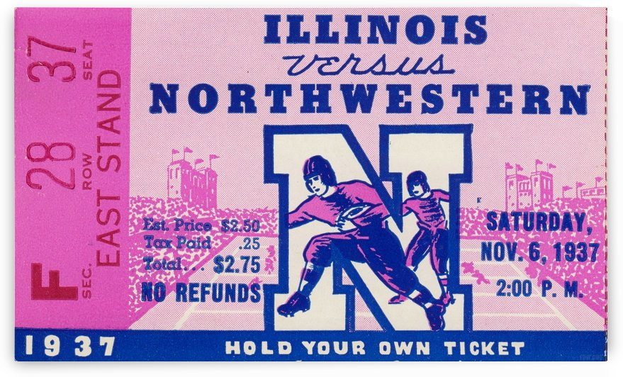 1937_College Football Collection_Northwestern vs. Illinois_Historic Dyche Stadium Evanston_Ticket by Row One Brand