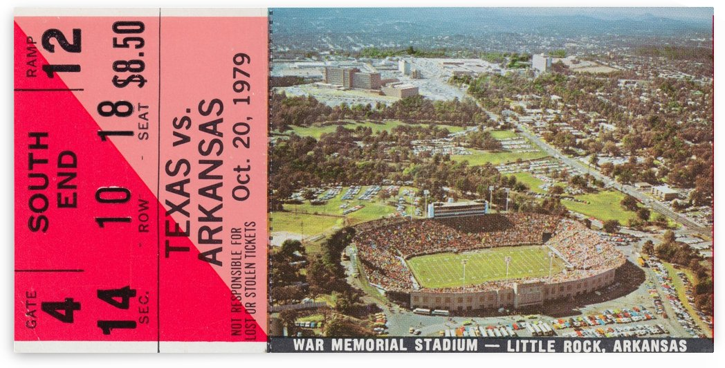 1979_College_Football_Arkansas vs. Texas_War Memorial Stadium Little Rock_College Ticket Stub Art by Row One Brand
