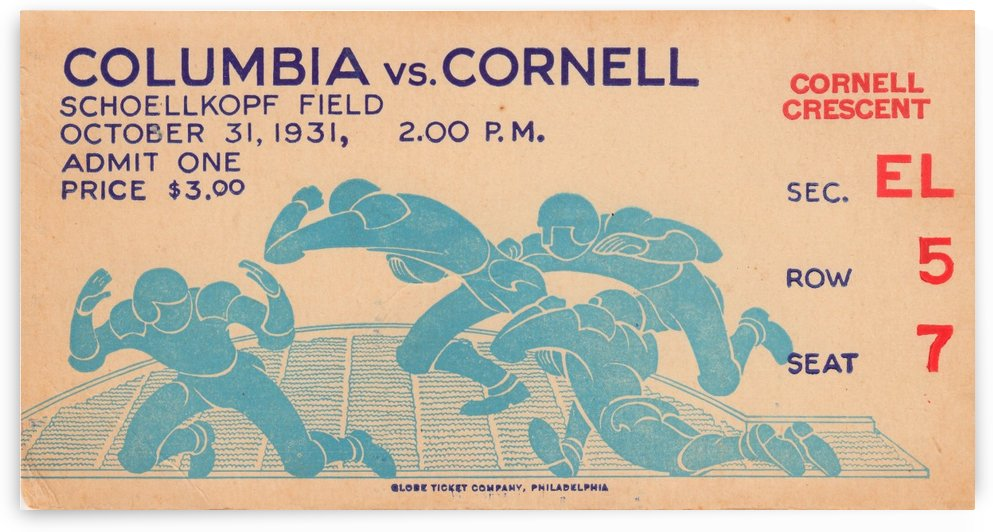 1931 Cornell vs. Columbia by Row One Brand