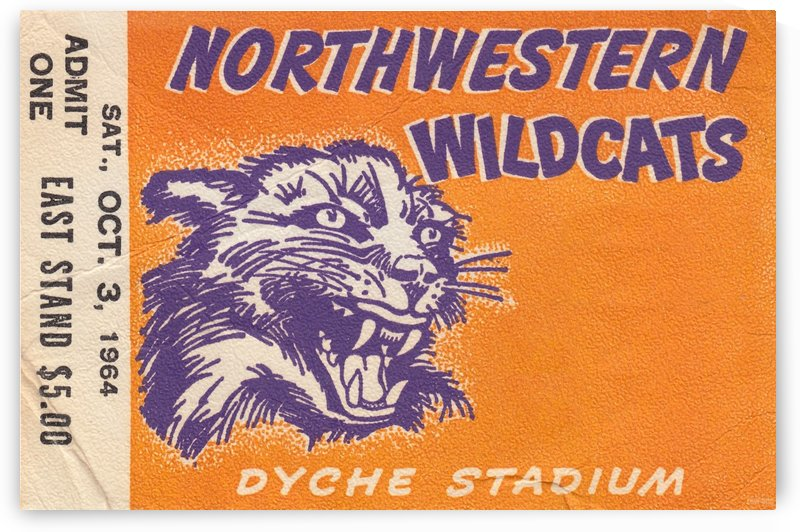 Northwestern University Wildcats College Wall Art Ticket Stub by Row One Brand