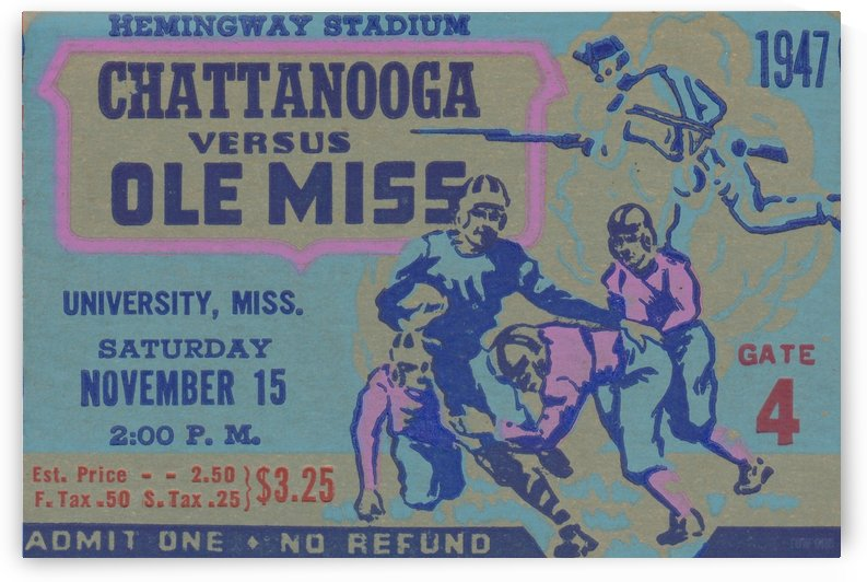 1947_College_Football_Mississippi vs. Chattanooga_Historic Hemingway Stadium_Oxford MS College Art by Row One Brand